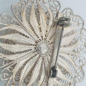 Jewelry - Sterling Silver Filigree Flower Brooch